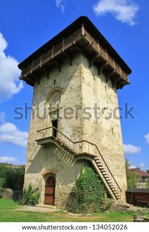 Dark Ages tower.The Humor Monastery, Romania - stock photo