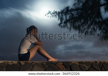 Dark and depressed.  (Taken with long exposure) - stock photo