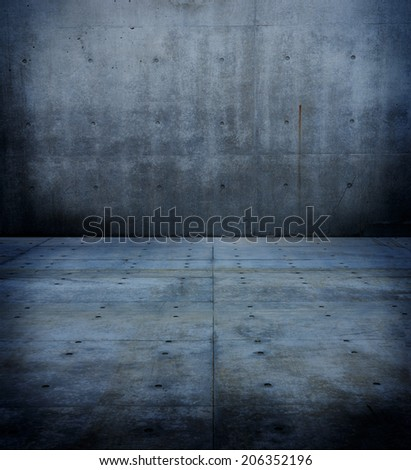Dark and dim concrete wall and floor.  - stock photo