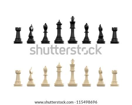 Dark and light chess set, isolated on white background. - stock photo