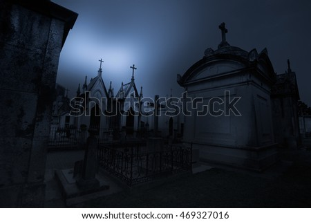 Dark and mysterious old European cemetery