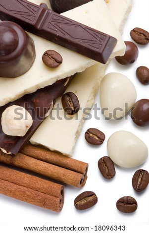 Dark and white chocolate - stock photo
