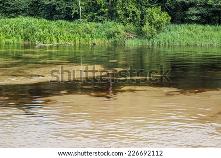 Dark and white Water confluence  in the amazon river, Iquitos, Peru - stock photo