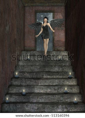 Dark angel down long stairs 3D rendering