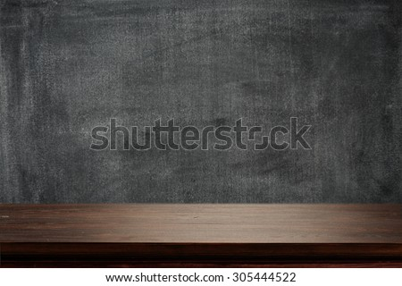 dark background of black board and desk board place  - stock photo