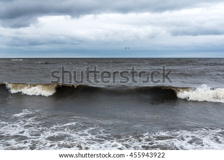 Dark Baltic sea in windy day.