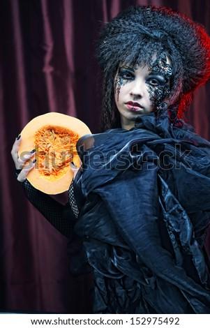 Dark Beautiful Gothic Princess.Halloween party.  - stock photo