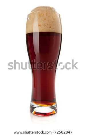 Dark beer glass. Isolated on white background - stock photo