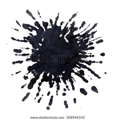 Dark blots. Blank black spot. Hand drawn. Isolated on white background - stock photo