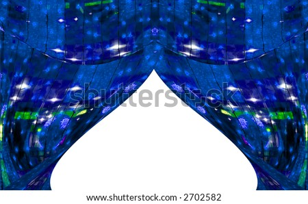 Dark blue abstract curtains at a window. A photo with elements computer diagrams. - stock photo