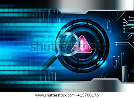 dark blue Abstract digital conceptual technology security background with lock. virus computer, Magnifier. Magnifying Glass - stock photo
