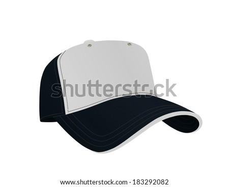 Dark Blue and White Baseball Cap - stock photo