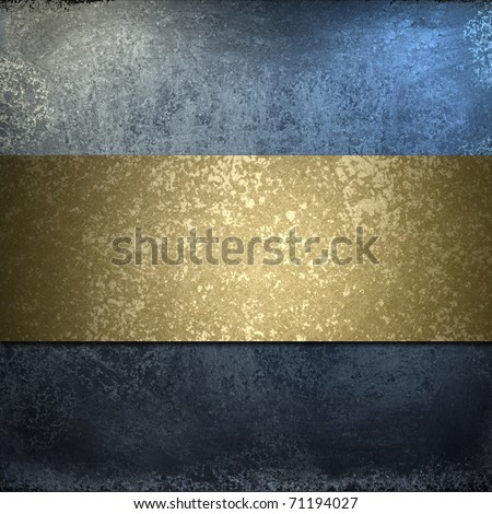 dark blue background with grungy burnished gold stripe, soft faded lighting, elegant layout design, and copy space - stock photo
