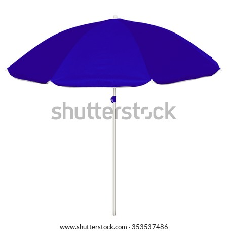 Dark-blue beach umbrella isolated on white. Clipping path included. - stock photo
