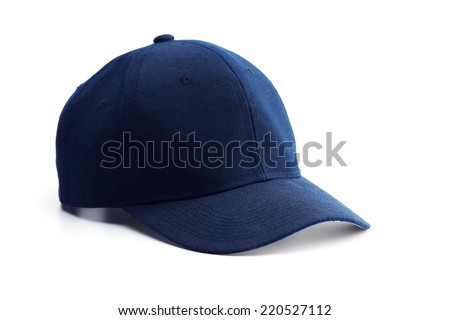 Dark blue cap isolated on white. - stock photo