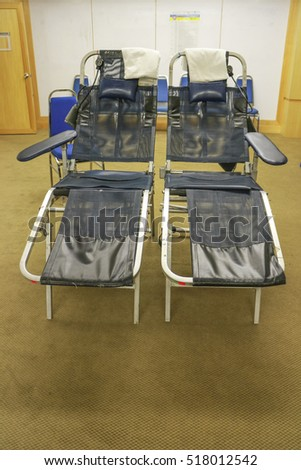 Dark blue chair for blood donation