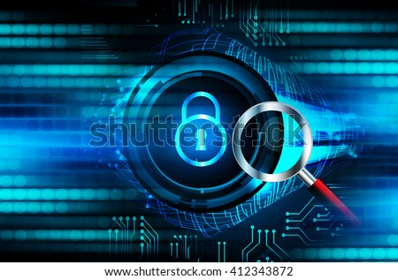 dark blue color Light Abstract Technology background for computer graphic website internet. circuit. illustration. infographics. motion move .neon. lock, key, Padlock. Magnifier, Magnifying Glass
