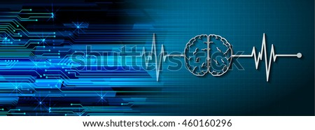 dark blue color Light Abstract Technology background for computer graphic website internet. circuit. illustration. digital. infographics. binary code. Global. gear. EKG electrocardiogram. brain - stock photo