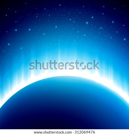 Dark blue colored space background with beautiful eclipse. Rising Sun over the planet - stock photo