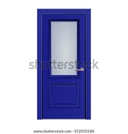 dark blue door with glass - stock photo