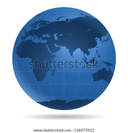 Dark blue Earth globe.  View on Europe, Asia, Africa, Antarctica - icon isolated on white background. - stock photo