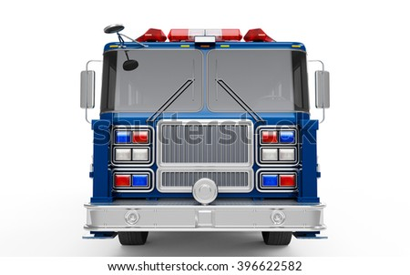 Dark Blue Firetruck front view isolated on a white background. 3D Rendering, 3D Illustration
