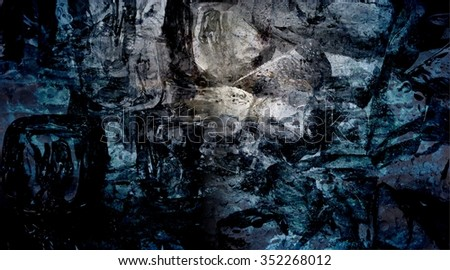 Dark blue-green ice texture, banner. Many ice cubes are washed by streams of cold, clear water. Reminiscent of the natural purity and freshness of hard-to-reach places. - stock photo