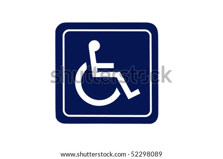Dark blue handicap sign isolated on white background. For concepts such as health and medical, and handicap and disability. - stock photo