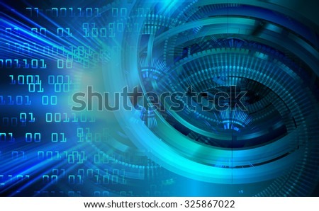 dark blue illustration of technology internet network computer background with binary number, style background. infographics. Information. motion blur. pixel. Binary digit.gear - stock photo
