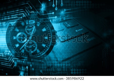 dark blue illustration of technology internet network computer background with binary number, style. infographics. Information. motion blur. pixel. Binary digit. number. Odometer,clock, watch - stock photo