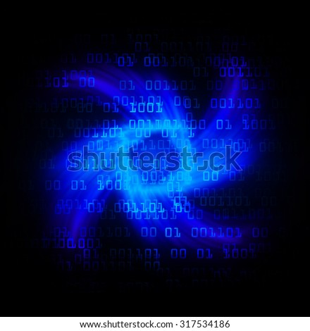 Dark blue Light Abstract Technology background for computer graphic website internet business.circuit.illustration. infographics.motion move blur.neon. pixel. Binary digit. rotate, spiral,whorl,braid - stock photo