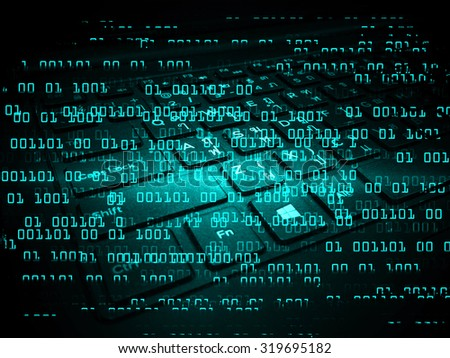 Dark blue Light Abstract Technology background for computer graphic website internet business. circuit. illustration. infographics. motion move blur.neon.high tech keyboard with binary number - stock photo