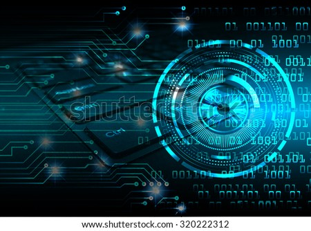 Dark blue Light Abstract Technology background for computer graphic website internet business. circuit. illustration. infographics. motion move blur.neon.high tech keyboard with binary number. eye - stock photo