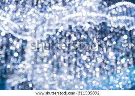 Dark Blue Lights Festive background. Abstract holiday twinkled bright background with bokeh, Party abstract background - stock photo