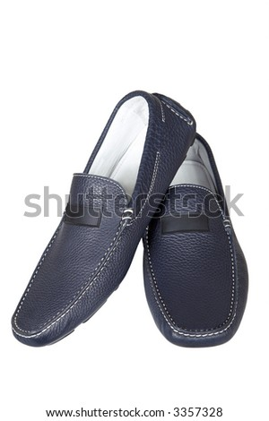 Dark blue low shoes on a white background - stock photo