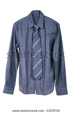 Dark blue man's shirt on a white background - stock photo