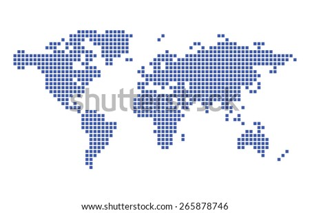dark blue map of world - squares - stock photo