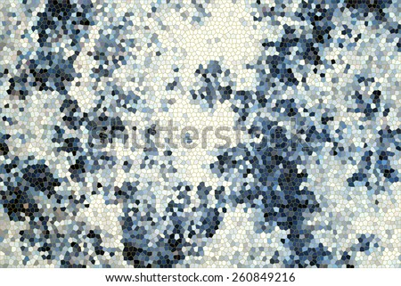 Dark blue Mosaic Background with tie dye fabric.. - stock photo