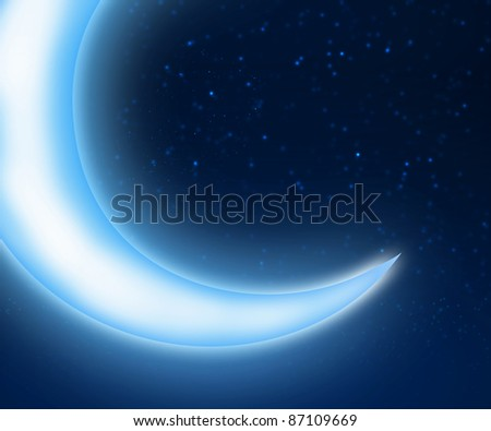 Dark blue night sky background with moon and twinkling stars - stock photo