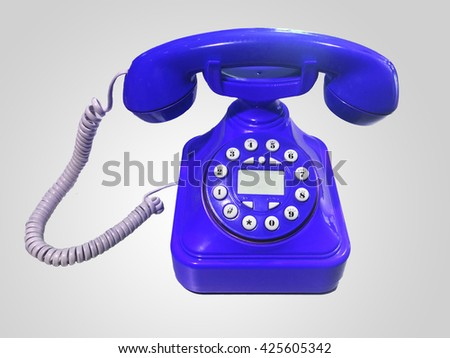 Dark blue old-fashioned phone on isolated white background