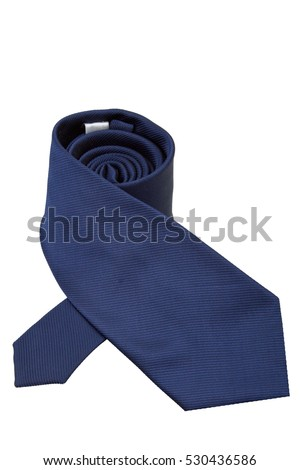 Dark blue tie isolated on white