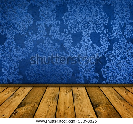 dark blue vintage room with wooden floor - stock photo