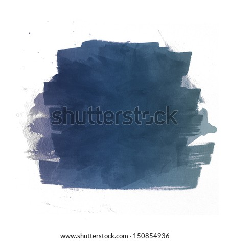 Dark blue watercolor brush strokes isolated against a white background - stock photo