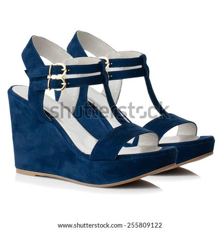 Dark blue women shoes isolated on white background. - stock photo