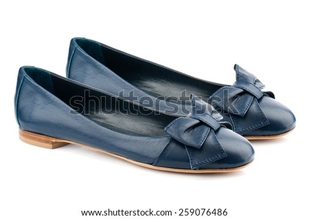 Dark blue women shoes isolated on white background. - stock photo