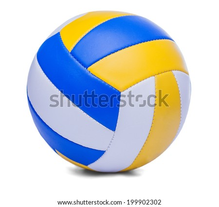 dark blue, yellow Volley-ball ball on a white background - stock photo