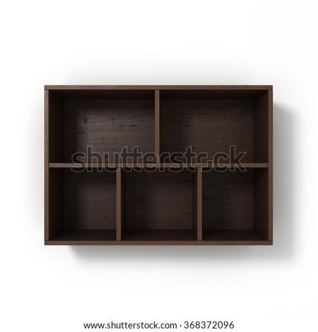 dark bookshelf isolated on white background - stock photo