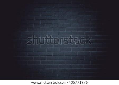Dark brick wall background - stock photo