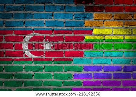 Dark brick wall texture - country flag and rainbow flag painted on wall - Azerbaijan - stock photo