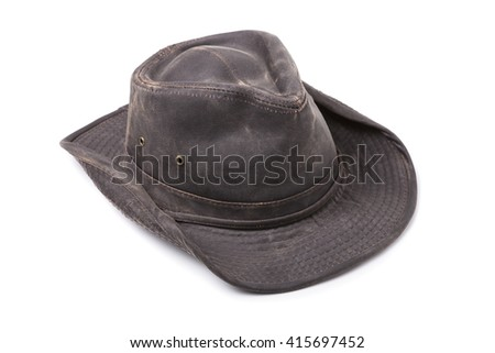 Dark Brown Cowboy Hat isolated on White Background - stock photo